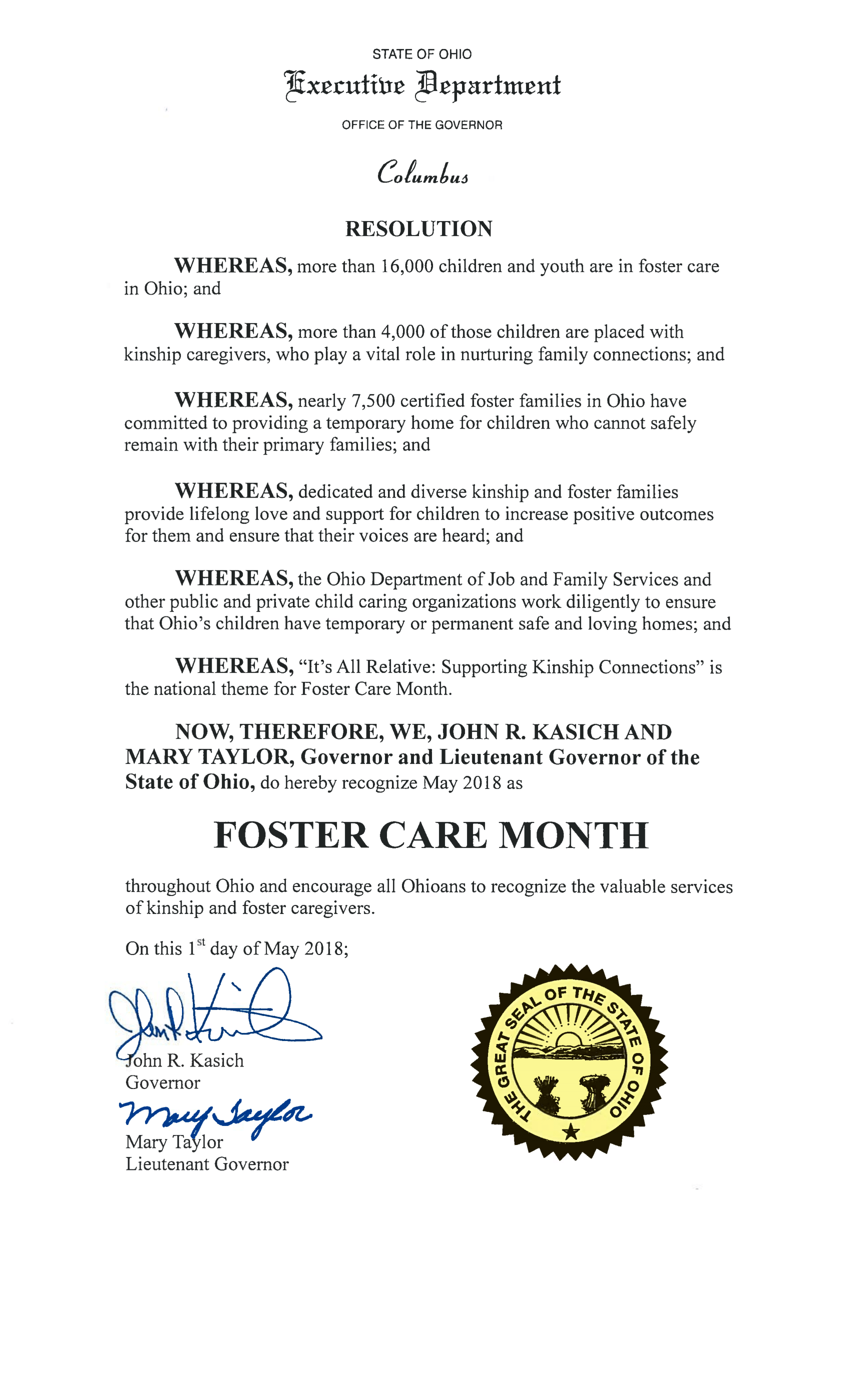 Ohio marks National Foster Care Month